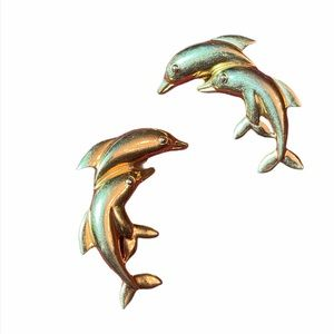 Vintage Gold Dolphin Clip On Earrings